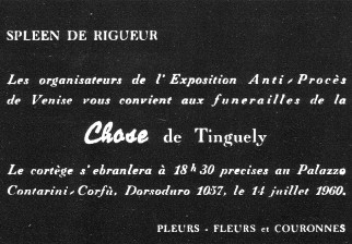 L'enterrement de la chose de Tinguely, 1960, carton d'invitation en forme de faire-part