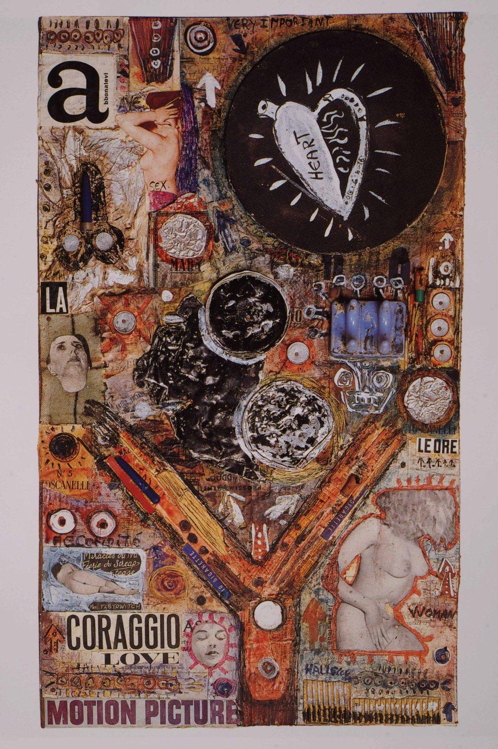 Tav. 3. Collage n. 1, 1956, collage polimaterico, cera e inchiostri su carta, cm. 73x42. Collezione privata - Copia