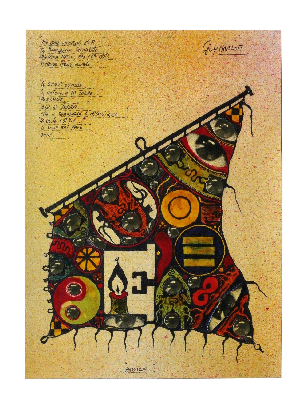 Tav. 30. The sail symbol n. 8, 1983, collage e inchiostri su carta, cm. 24,5x18. Collezione privata