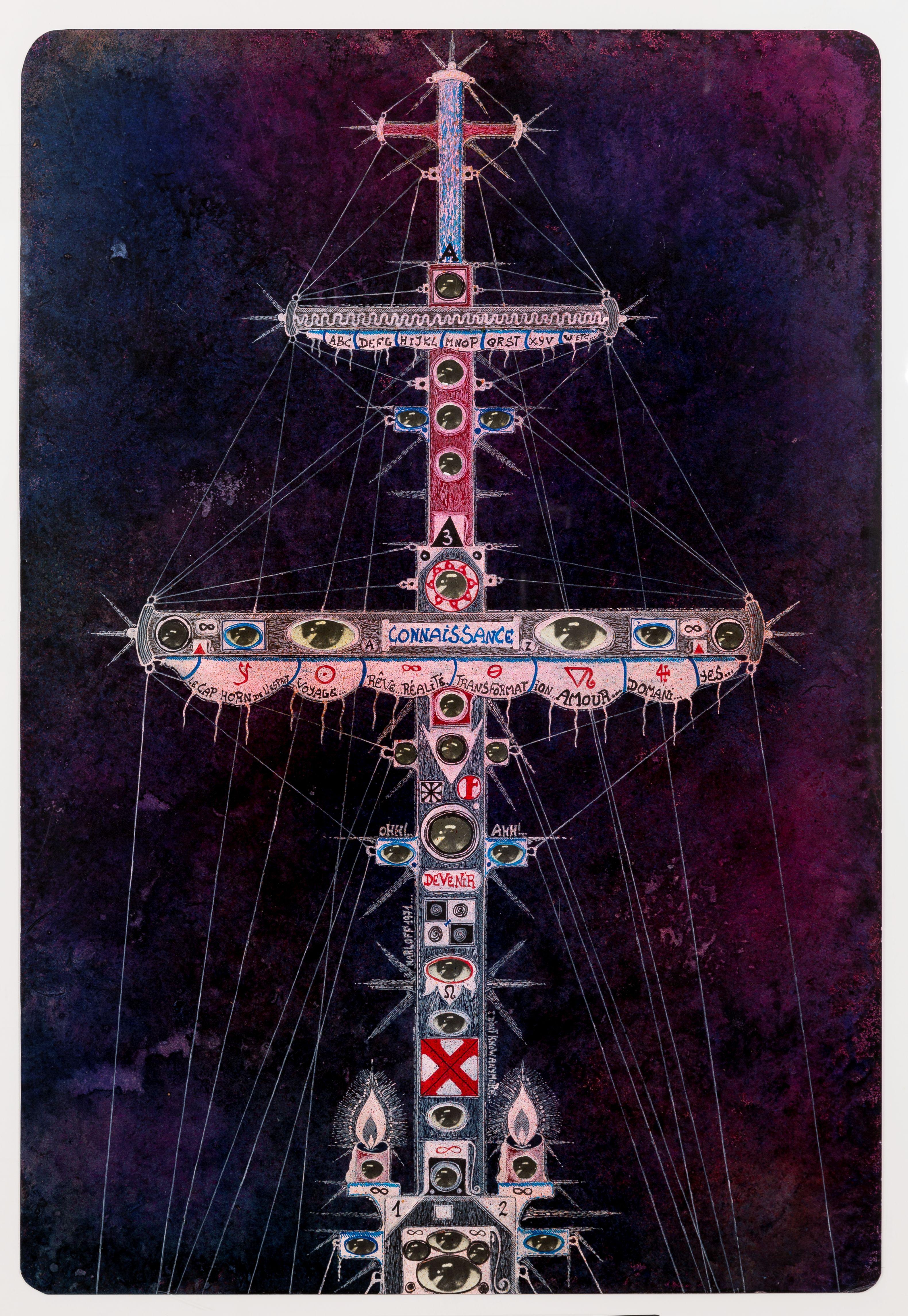 Coinnassance, 1971, collage e inchiostri su carta, cm. 69,5x46,5. Collezione privata -