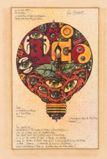 The Lightbulb..., 1983, collage e inchiostri su carta, cm 25,3x15,5